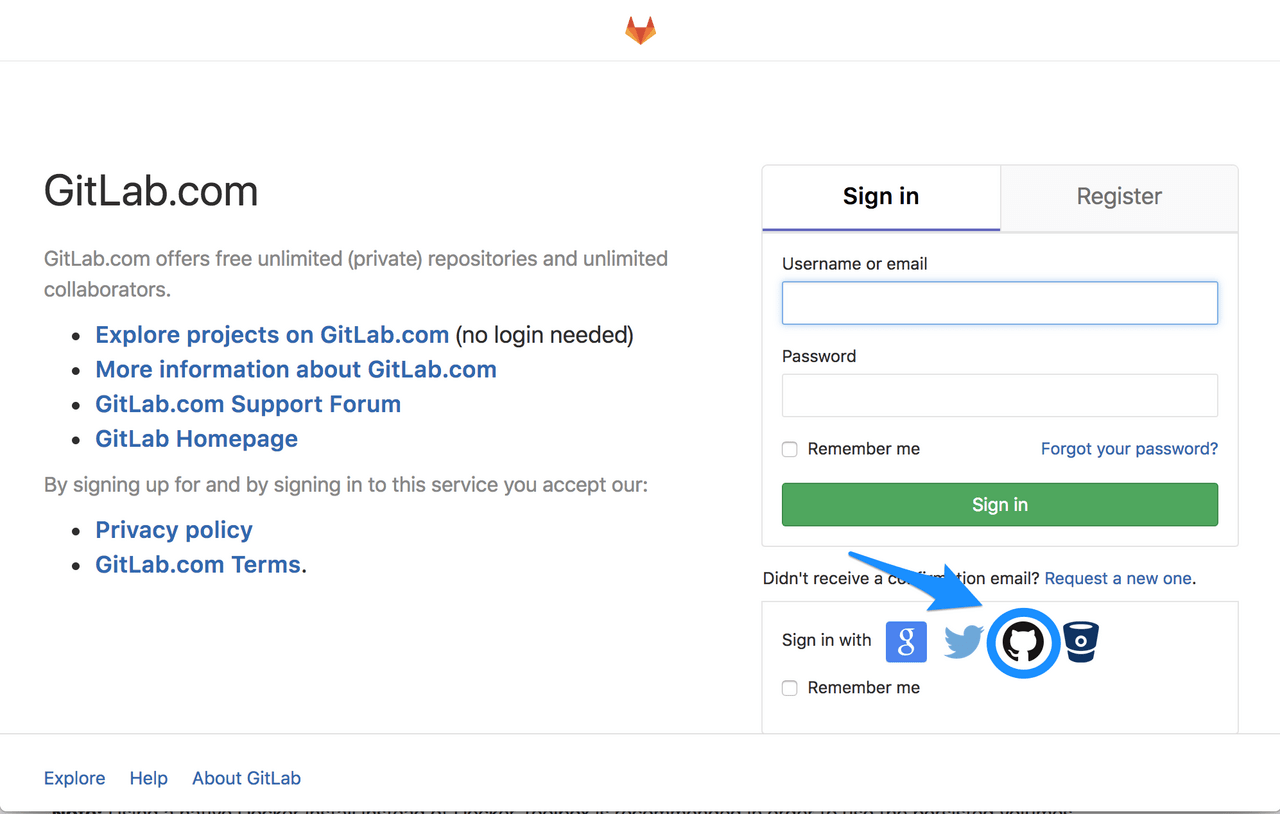 sign in with github